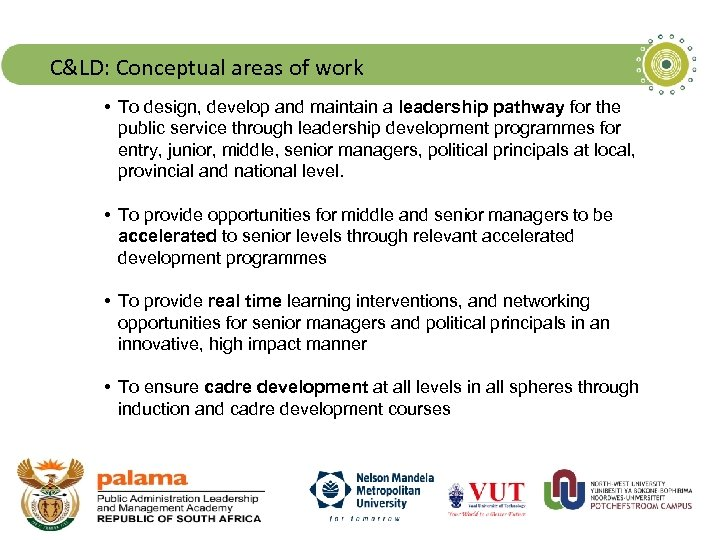 C&LD: Conceptual areas of work • To design, develop and maintain a leadership pathway