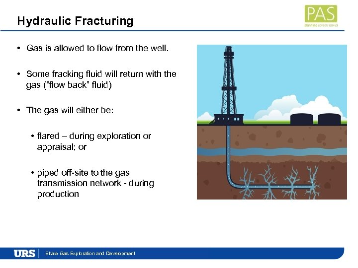 Hydraulic Fracturing • Gas is allowed to flow from the well. • Some fracking