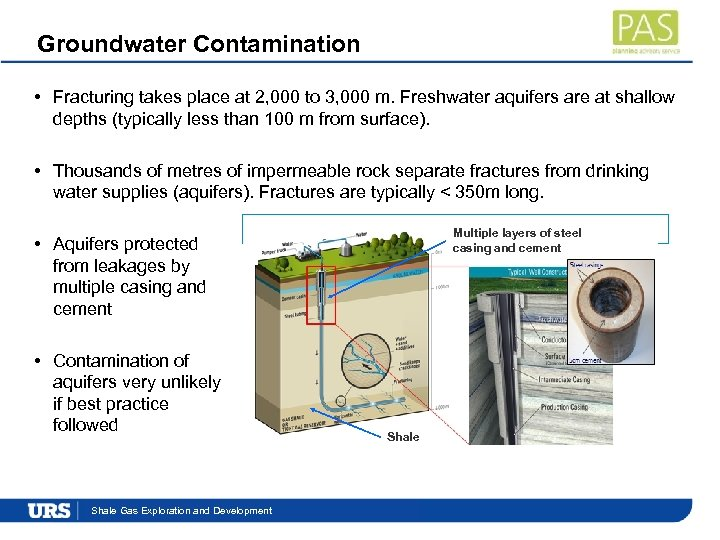 Groundwater Contamination • Fracturing takes place at 2, 000 to 3, 000 m. Freshwater