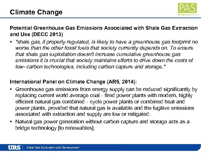 Climate Change Potential Greenhouse Gas Emissions Associated with Shale Gas Extraction and Use (DECC