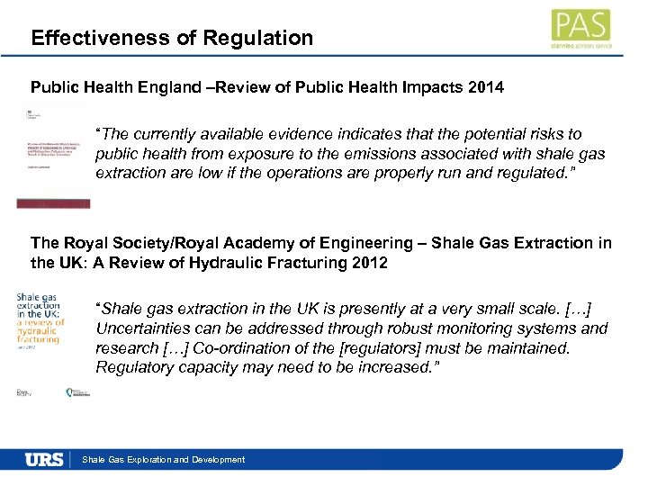 """Effectiveness of Regulation Public Health England –Review of Public Health Impacts 2014 """"The currently"""