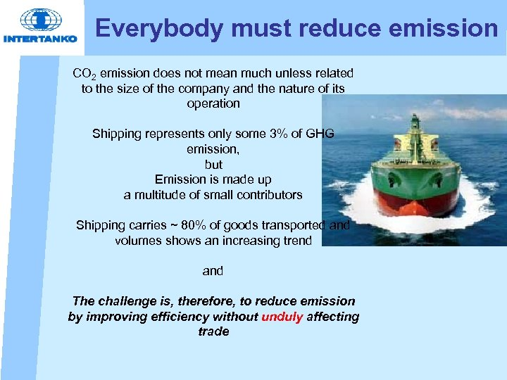 Everybody must reduce emission CO 2 emission does not mean much unless related to