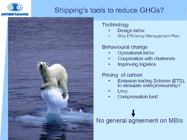 Shipping's tools to reduce GHGs? • Technology • • • Design index Ship Efficiency