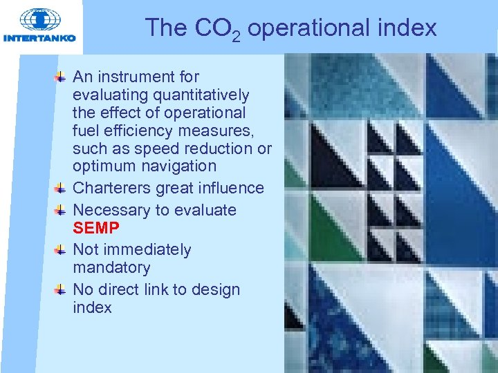 The CO 2 operational index An instrument for evaluating quantitatively the effect of operational