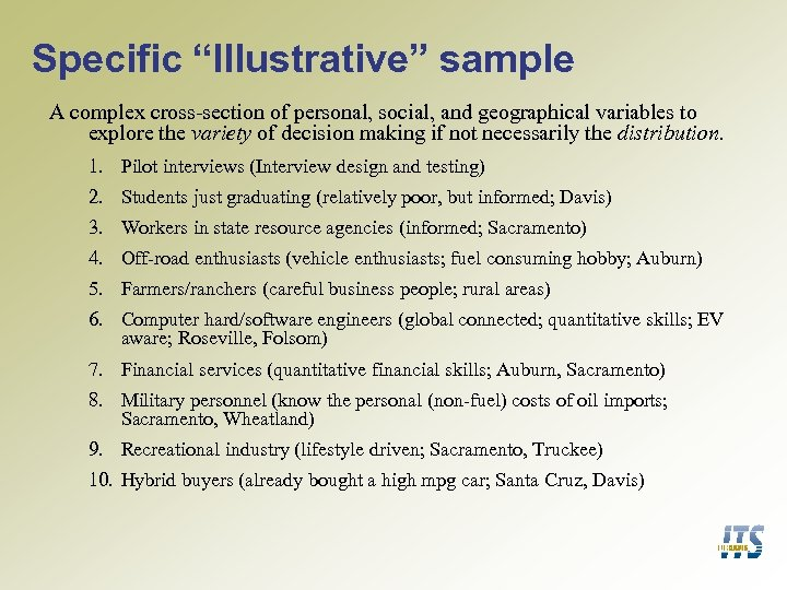 "Specific ""Illustrative"" sample A complex cross-section of personal, social, and geographical variables to explore"