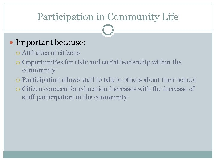 Participation in Community Life Important because: Attitudes of citizens Opportunities for civic and social