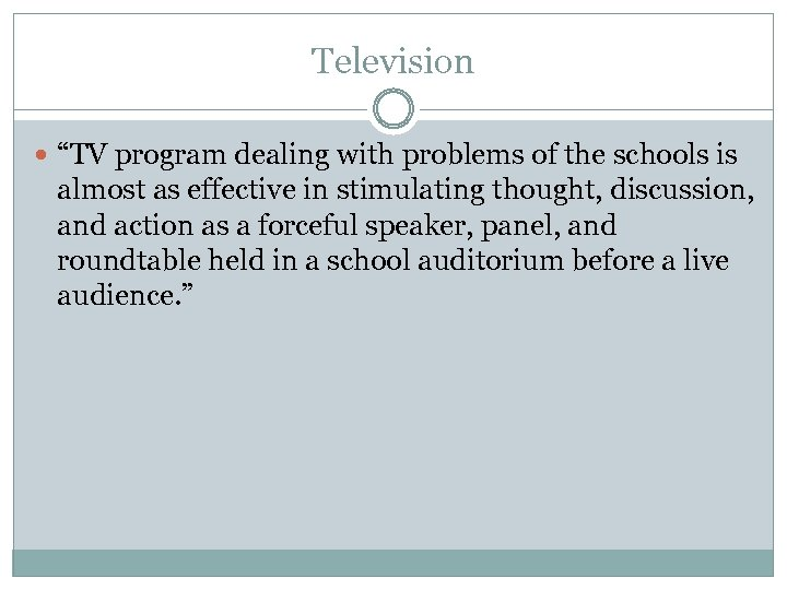 """Television """"TV program dealing with problems of the schools is almost as effective in"""