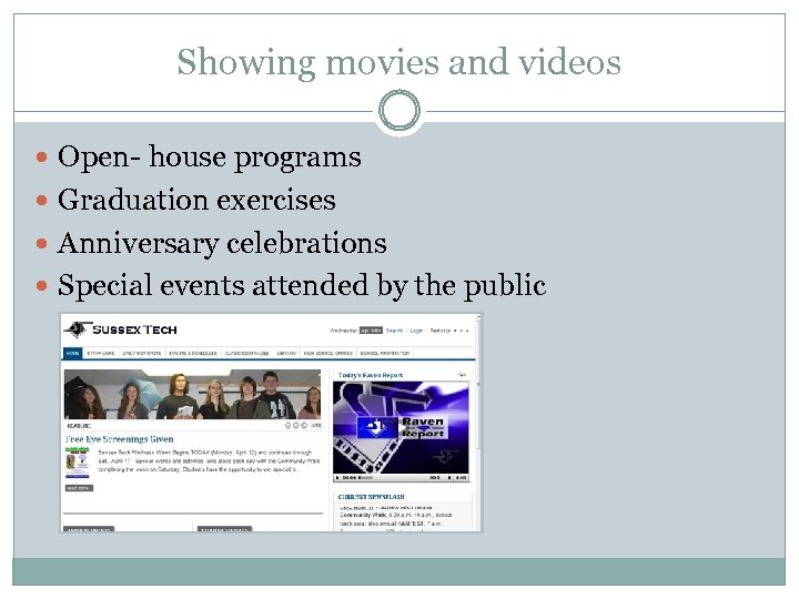 Showing movies and videos Open- house programs Graduation exercises Anniversary celebrations Special events attended