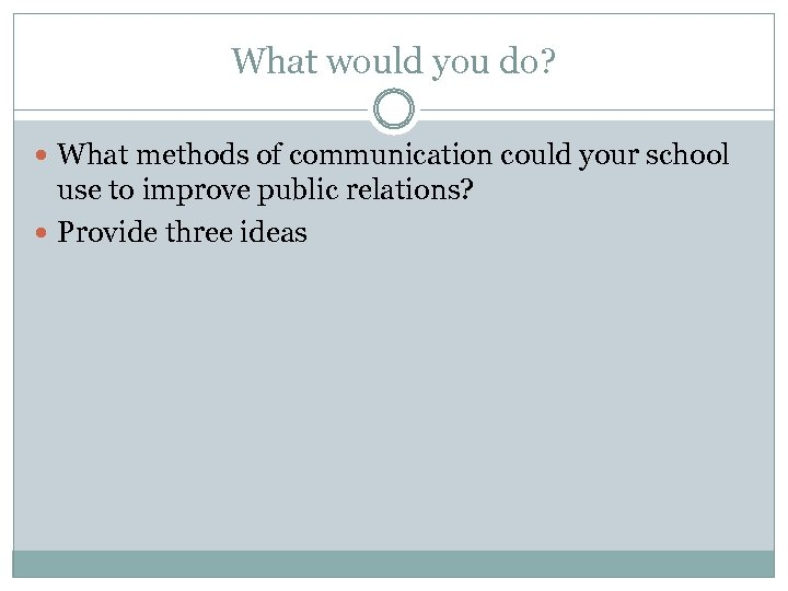 What would you do? What methods of communication could your school use to improve