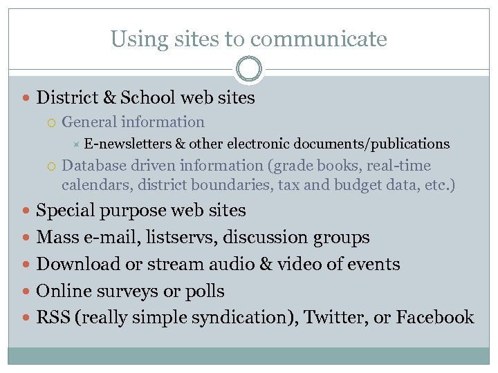 Using sites to communicate District & School web sites General information E-newsletters & other