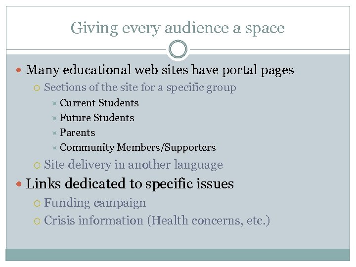 Giving every audience a space Many educational web sites have portal pages Sections of