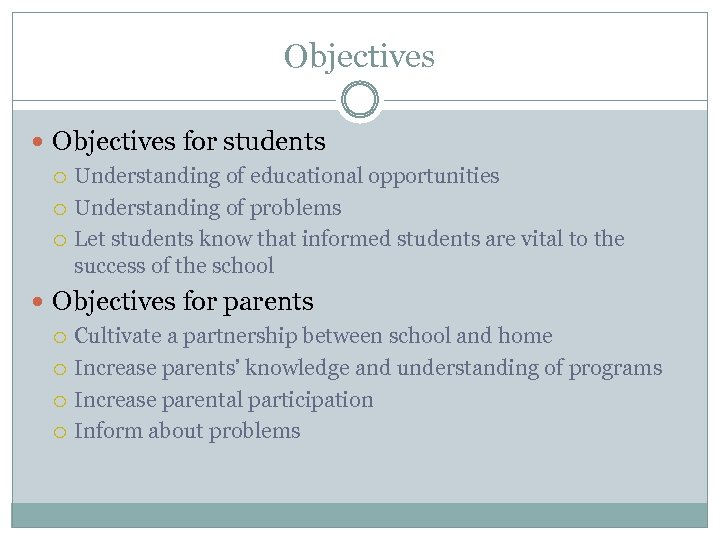 Objectives for students Understanding of educational opportunities Understanding of problems Let students know that
