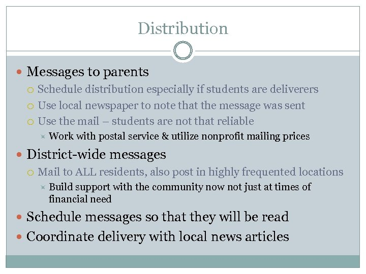 Distribution Messages to parents Schedule distribution especially if students are deliverers Use local newspaper