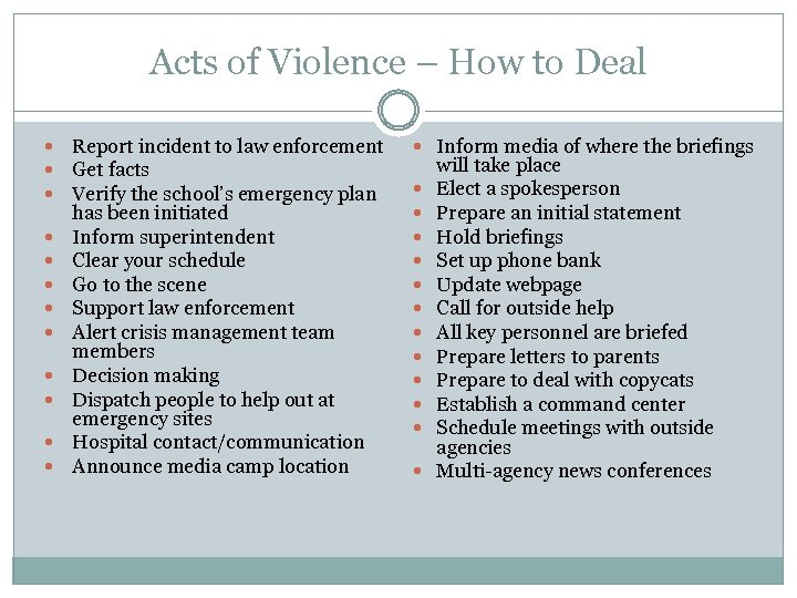 Acts of Violence – How to Deal Report incident to law enforcement Get facts