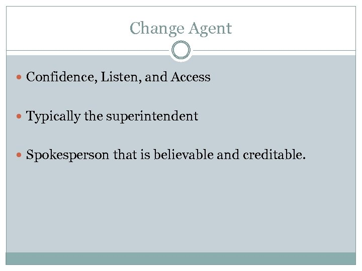 Change Agent Confidence, Listen, and Access Typically the superintendent Spokesperson that is believable and