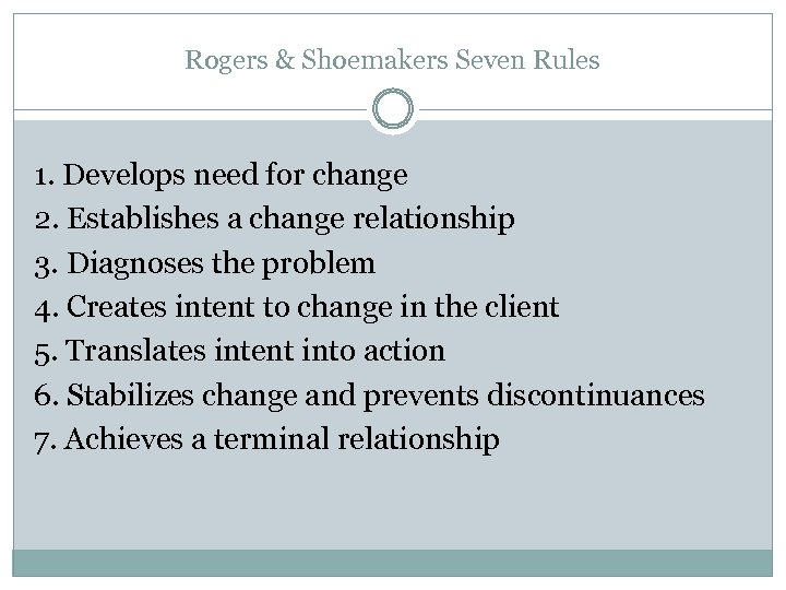Rogers & Shoemakers Seven Rules 1. Develops need for change 2. Establishes a change