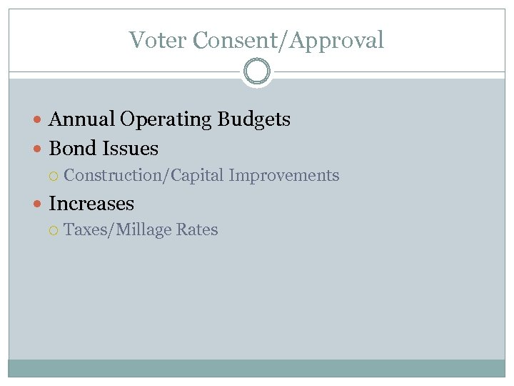 Voter Consent/Approval Annual Operating Budgets Bond Issues Construction/Capital Improvements Increases Taxes/Millage Rates