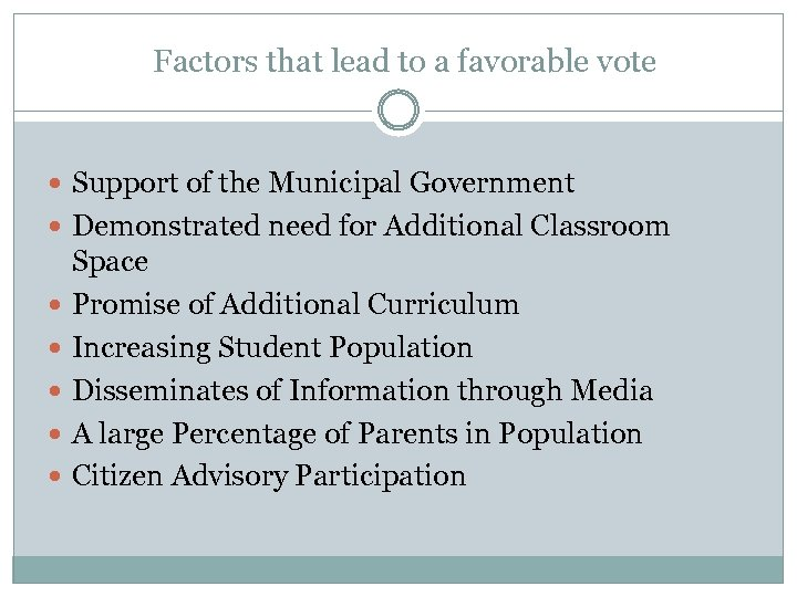 Factors that lead to a favorable vote Support of the Municipal Government Demonstrated need