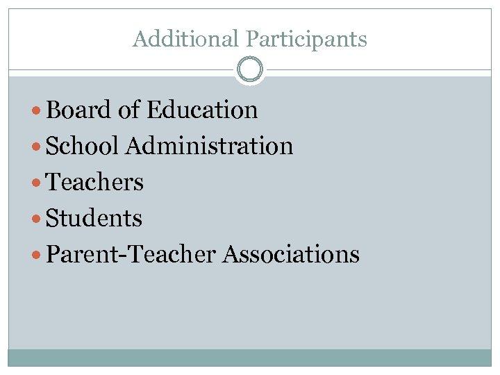 Additional Participants Board of Education School Administration Teachers Students Parent-Teacher Associations