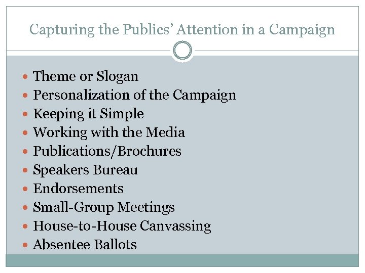 Capturing the Publics' Attention in a Campaign Theme or Slogan Personalization of the Campaign