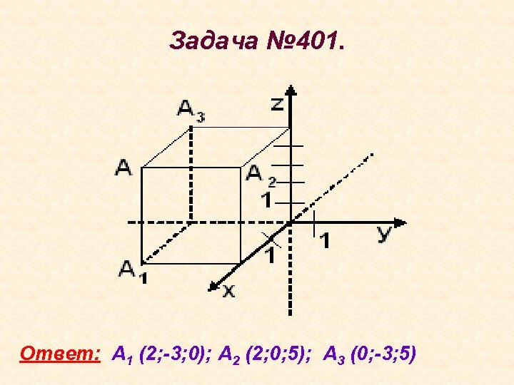 Задача № 401. Ответ: А 1 (2; -3; 0); А 2 (2; 0; 5);