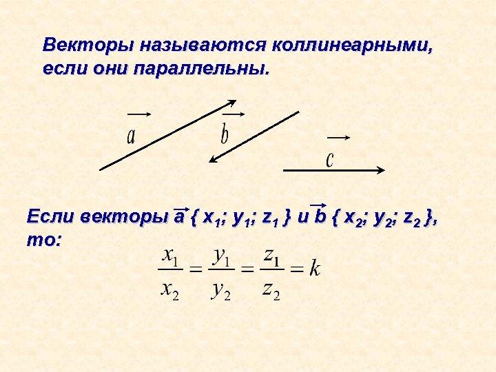 Векторы называются коллинеарными, если они параллельны. Если векторы а { x 1; y 1;