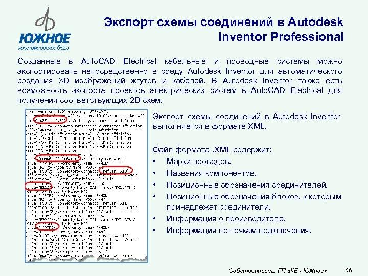 Экспорт схемы соединений в Autodesk Inventor Professional Созданные в Auto. CAD Electrical кабельные и