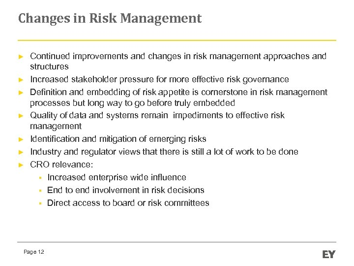 Changes in Risk Management ► ► ► ► Continued improvements and changes in risk