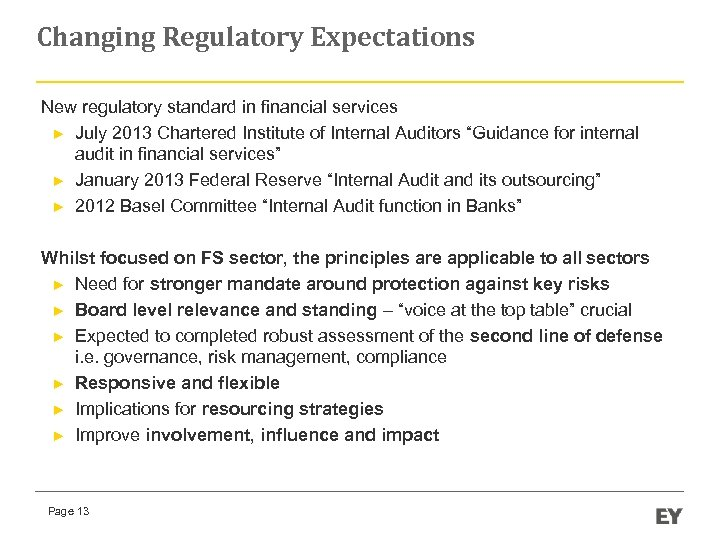 Changing Regulatory Expectations New regulatory standard in financial services ► July 2013 Chartered Institute