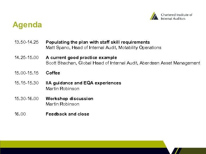 Agenda 13. 50 -14. 25 Populating the plan with staff skill requirements Matt Spano,