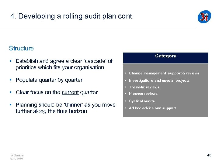 4. Developing a rolling audit plan cont. Structure Category § Establish and agree a