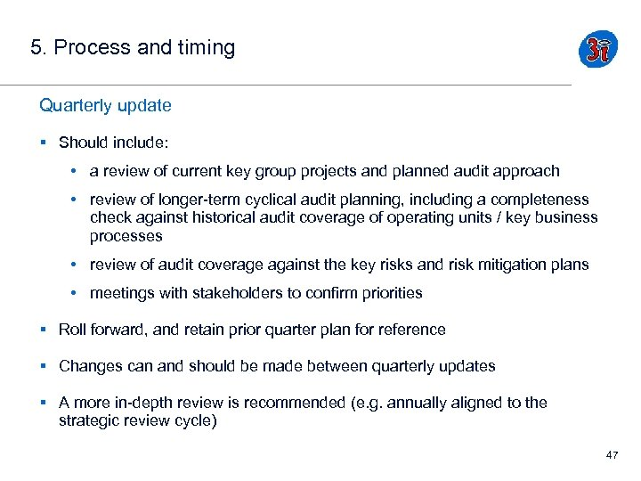5. Process and timing Quarterly update § Should include: • a review of current