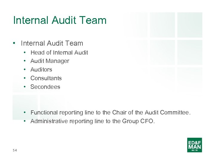 Internal Audit Team • • • Head of Internal Audit Manager Auditors Consultants Secondees