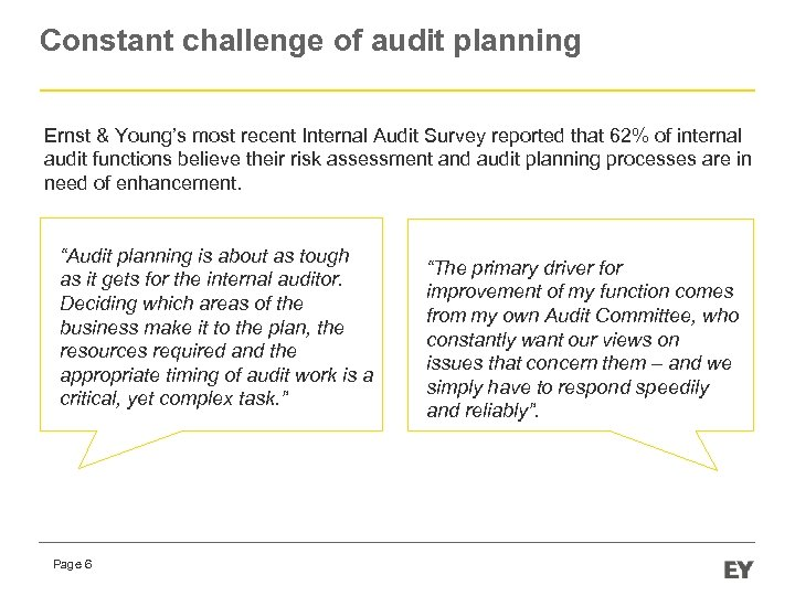 Constant challenge of audit planning Ernst & Young's most recent Internal Audit Survey reported