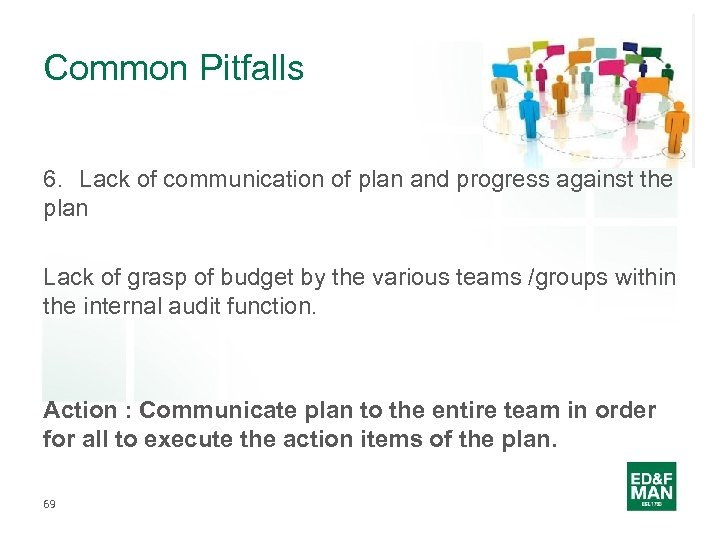 Common Pitfalls 6. Lack of communication of plan and progress against the plan Lack
