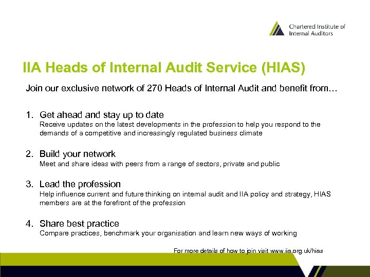 IIA Heads of Internal Audit Service (HIAS) Join our exclusive network of 270 Heads