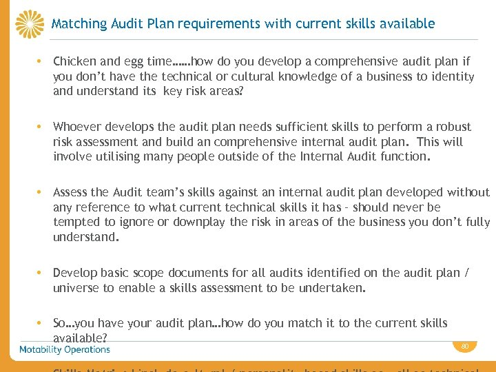 Matching Audit Plan requirements with current skills available • Chicken and egg time……how do