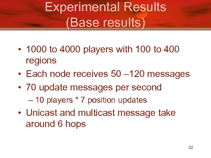 Experimental Results (Base results) • 1000 to 4000 players with 100 to 400 regions