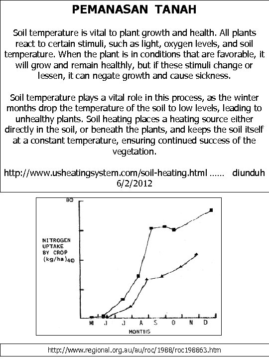 PEMANASAN TANAH Soil temperature is vital to plant growth and health. All plants react