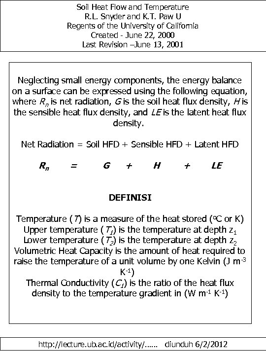 Soil Heat Flow and Temperature R. L. Snyder and K. T. Paw U Regents