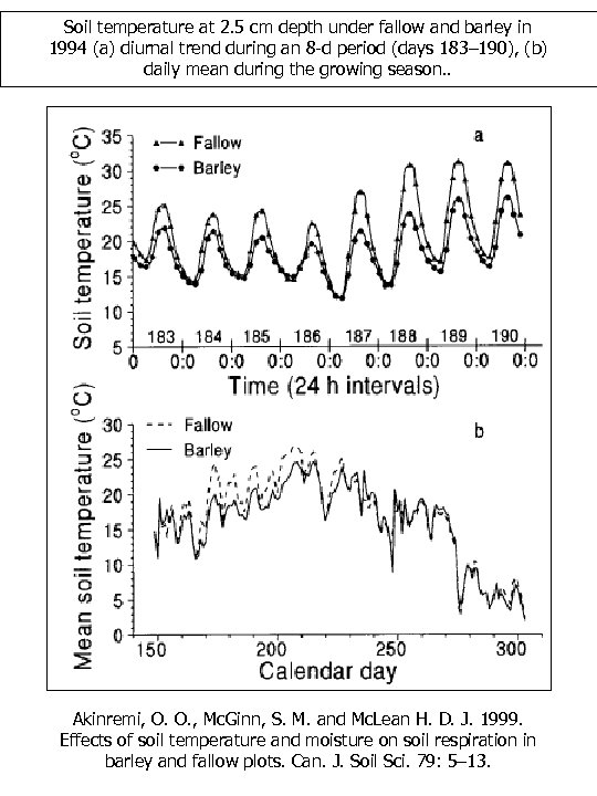 Soil temperature at 2. 5 cm depth under fallow and barley in 1994 (a)