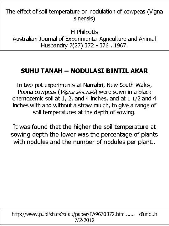 The effect of soil temperature on nodulation of cowpeas (Vigna sinensis) H Philpotts Australian
