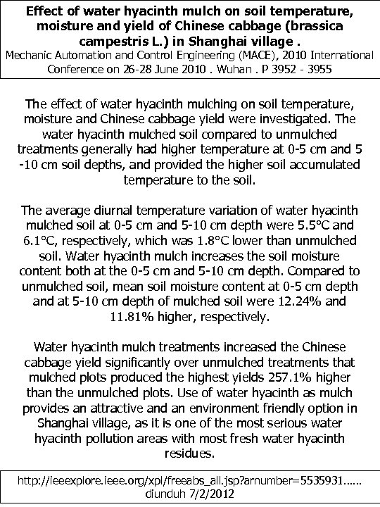 Effect of water hyacinth mulch on soil temperature, moisture and yield of Chinese cabbage