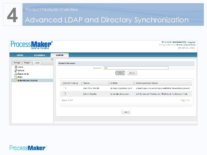 4 Product Features Overview Advanced LDAP and Directory Synchronization