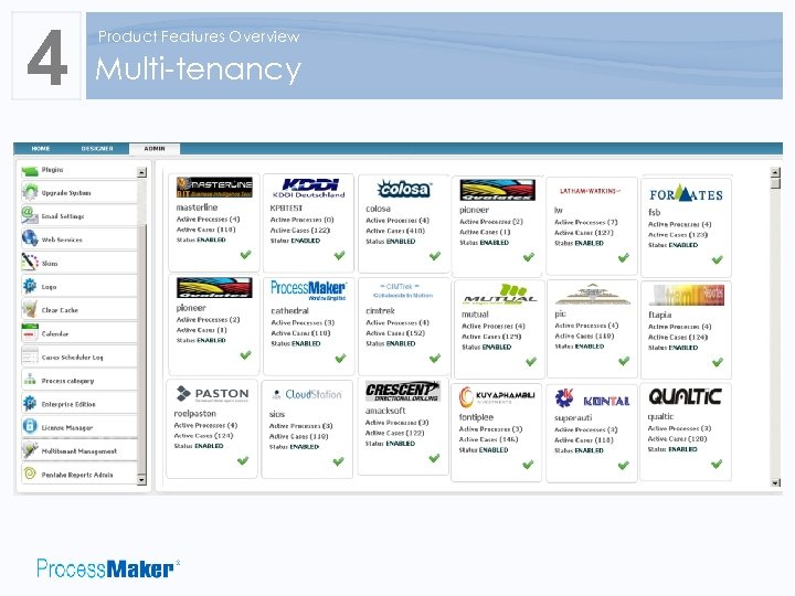 4 Product Features Overview Multi-tenancy