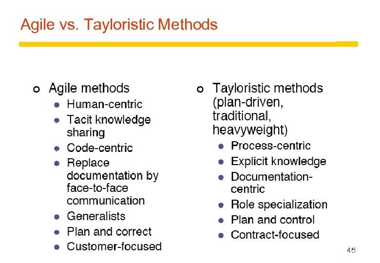 Agile vs. Tayloristic Methods 45