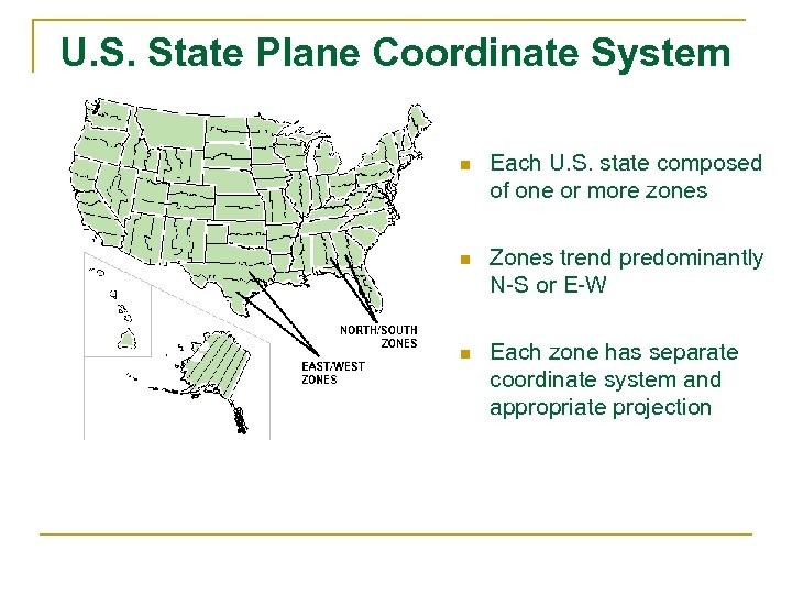U. S. State Plane Coordinate System n Each U. S. state composed of one