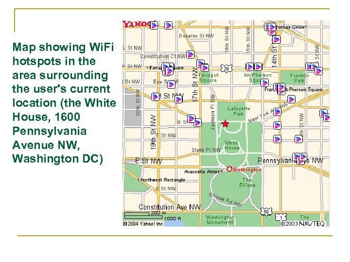 Map showing Wi. Fi hotspots in the area surrounding the user's current location (the