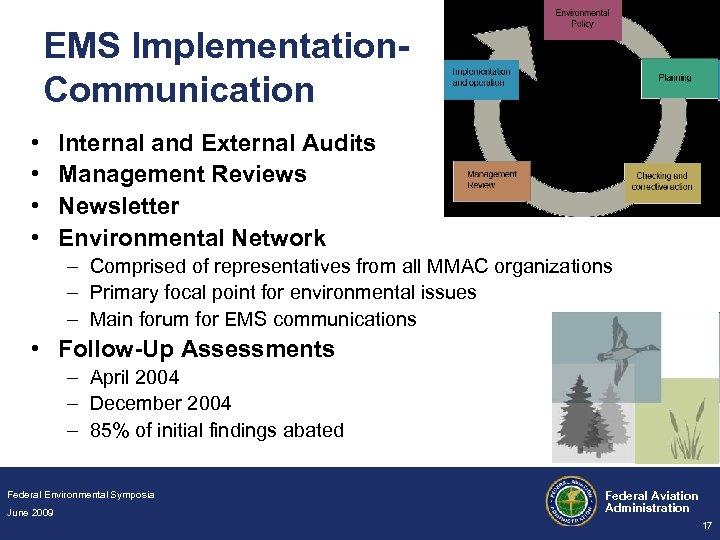 EMS Implementation. Communication • • Internal and External Audits Management Reviews Newsletter Environmental Network