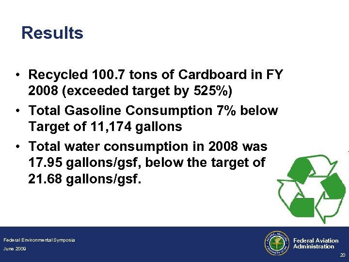 Results • Recycled 100. 7 tons of Cardboard in FY 2008 (exceeded target by